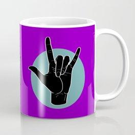 ILY - I Love You - Sign Language - Black on Green Blue 05 Coffee Mug