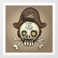 pirate Art Prints featuring pirate by adi katz