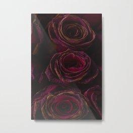 Misteriose Vintage Roses in Plum Metal Print