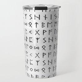 Futhark full runic print (Viking runes) white version Travel Mug