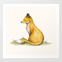 mr fox Art Prints featuring MR Fox by Lynette Sherrard Illustration and Design