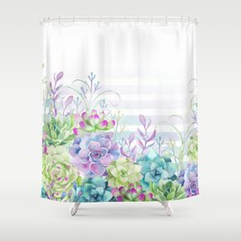 Summer Succulents Shower Curtain