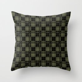 Black plaid, plaid, olive plaid , green and black Throw Pillow
