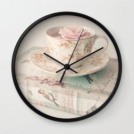 Rosey Tea and Book Wall Clock