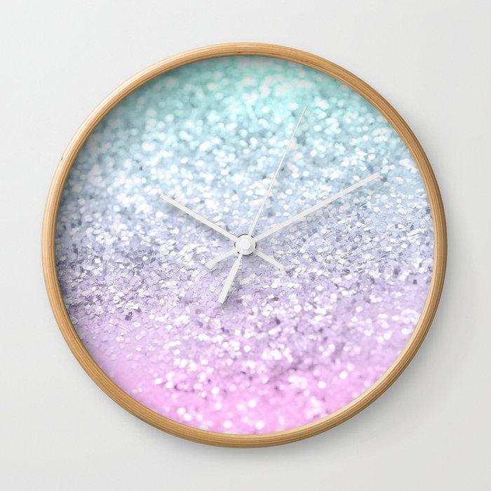 Mermaid Girls Glitter #2 (2019 Pastel Version) #shiny #decor #art #society6 Wall Clock