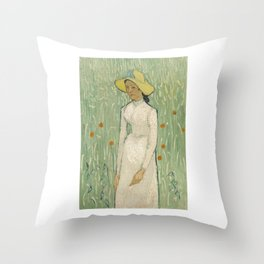 Girl in White, 1890 by Vincent Van Gogh Throw Pillow