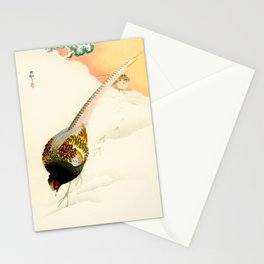 Pheasants in the snow  - Vintage Japanese Woodblock Print Art Stationery Cards