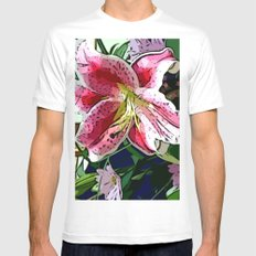 Pink Day Lily Mens Fitted Tee White MEDIUM