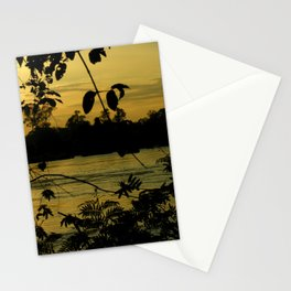 Sunset Nigthfall Mekong River Tropical Jungle Stationery Cards