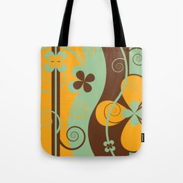 Modern Retro Floral Graphic Art Tote Bag