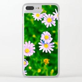 Hypercolor Purple Flowers Clear iPhone Case