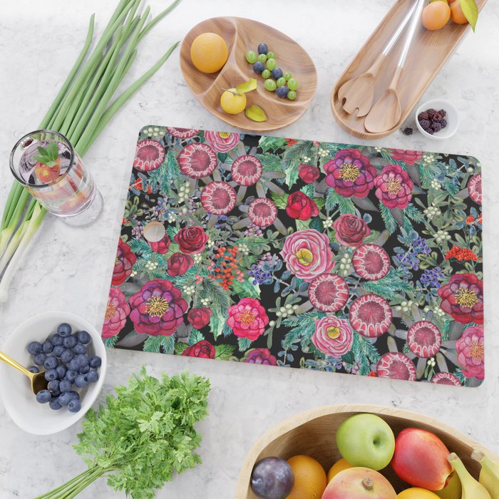 fall burgundy flowers and berries, autumn / winter, holiday botanical Cutting Board