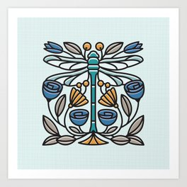 Dragonfly tile Art Print