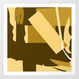 Matisse Inspired Gold Ochre Collage Art Print