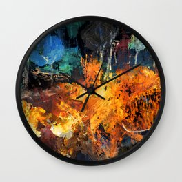 Fire in the Woods Wall Clock