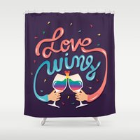 risa rodil Shower Curtains featuring Love Wins by Risa Rodil