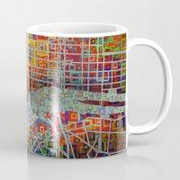new york map Mugs featuring New York map by Bekim ART