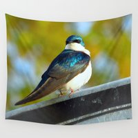 swallow Wall Tapestries featuring Tree Swallow by JTLPnature