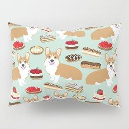 Corgi Patisserie Bakery French Parisian food, tarts, eclair, napoleon, cute food design Pillow Sham
