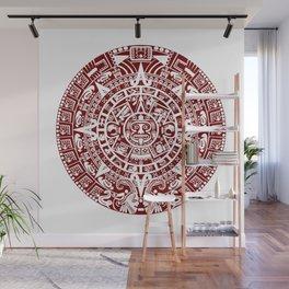 Mayan Calendar // Burgundy Wall Mural
