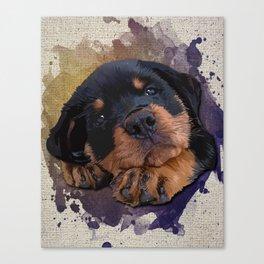 Cute Rottweiler Puppy Canvas Print