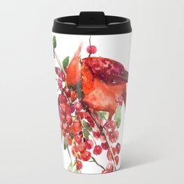 Cardinal Bird and Berries Travel Mug