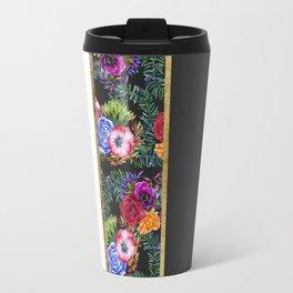 Watercolor Flowers Black White Gold Color Blocks Travel Mug
