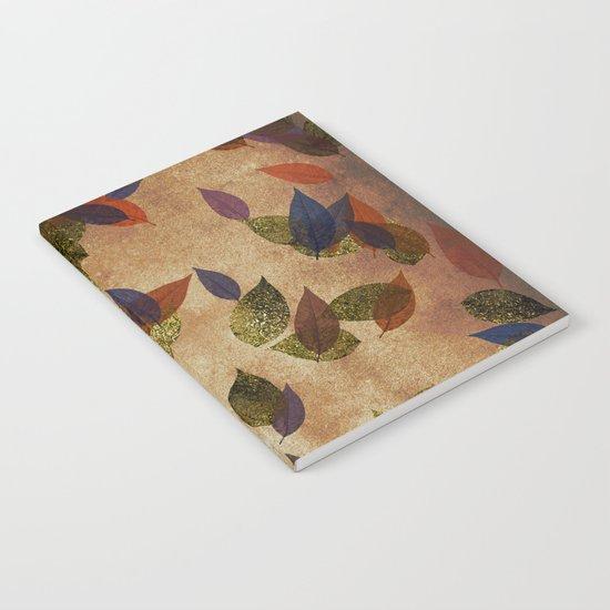 Autumn-world 3 - gold glitter leaves on dark backround Notebook