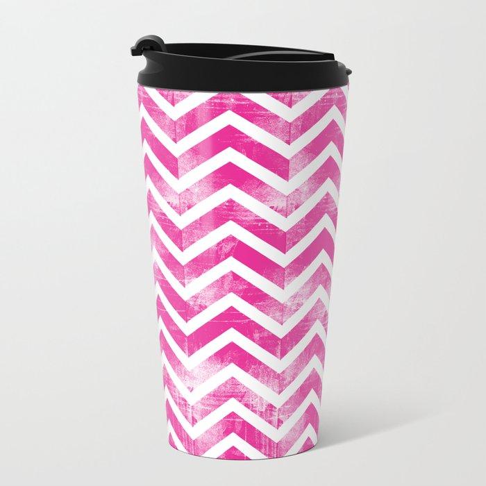 Maritime Pink White Chevron Herringbone ZigZag - Mix & Match Metal Travel Mug