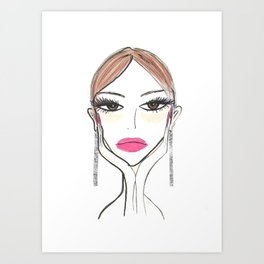 Another girl with the foil earrings Art Print