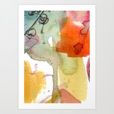 watercolour floral abstract Art Print
