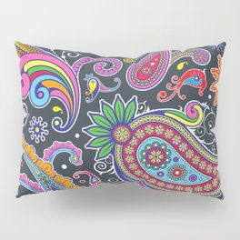 Oriental Persian Paisley - Green Pink Blue Yellow Pillow Sham
