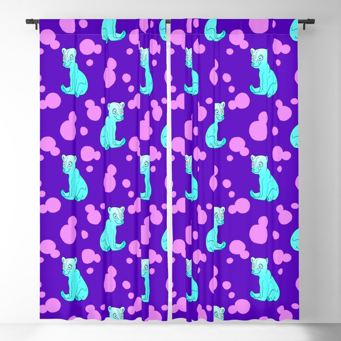 Little bears. Cute adorable funny pink baby bear cubs and bold blue retro dots nursery pattern Blackout Curtain