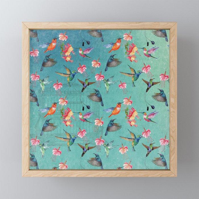 Vintage Watercolor hummingbirds and fuchsia flowers Framed Mini Art Print