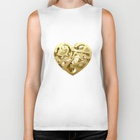 clockwork Biker Tanks featuring Clockwork Heart by Roman Maisei