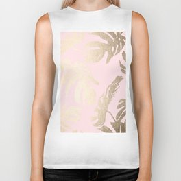 Simply Tropical Palm Leaves White Gold Sands on Flamingo Pink Biker Tank