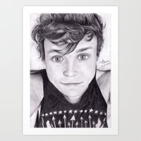 ashton irwin Art Prints featuring portrait of Ashton by teresartwork