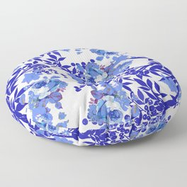 BLUE AND WHITE ROSE LEAF TOILE A PATTERN Floor Pillow