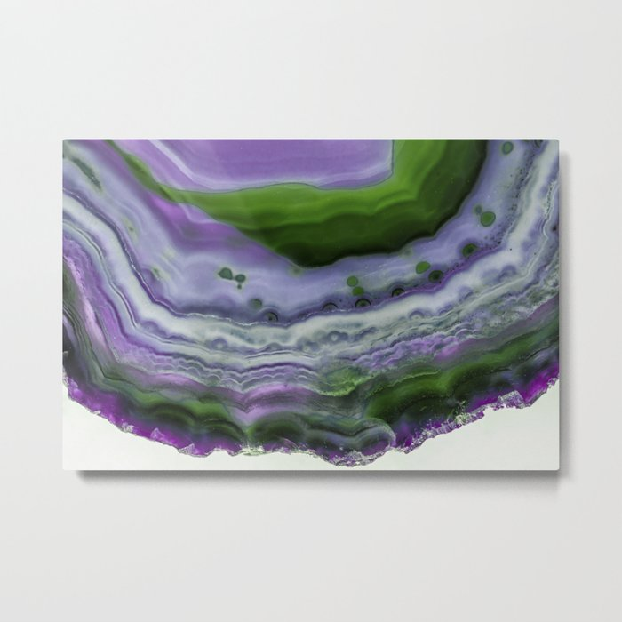 Purple and Green Agate Metal Print