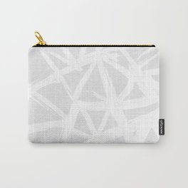 Modern white abstract geometric brushstrokes light grey Carry-All Pouch