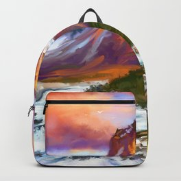 Road to twins at sunset Backpack
