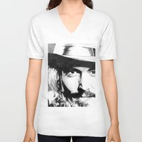 johnny depp V-neck T-shirts featuring Johnny Depp by DeMoose_Art