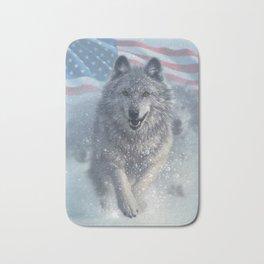 Running Wolves America Bath Mat