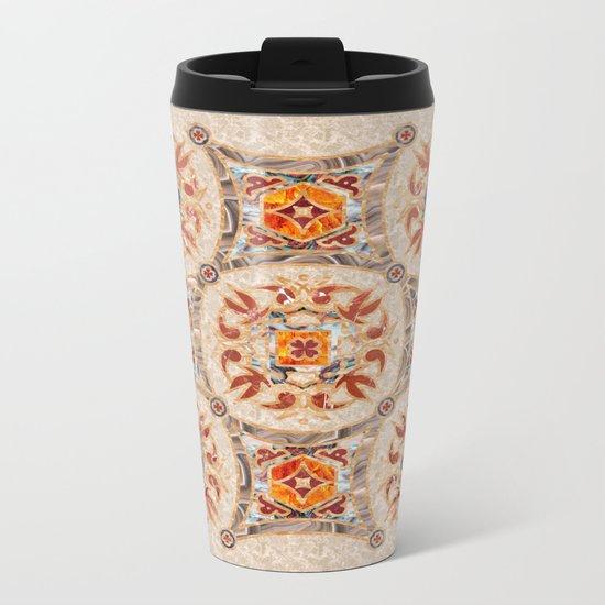 Brown Mandala 01 Metal Travel Mug