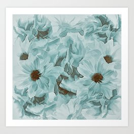 Soft Slate Blue Floral Abstract Art Print