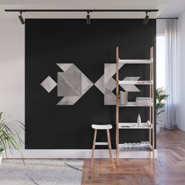 Tangram Fish in love - black and white Wall Mural