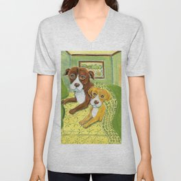 Pitbulls on patterned sheets Unisex V-Neck