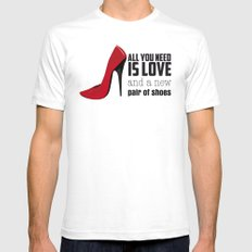 All you need is love! SMALL White Mens Fitted Tee