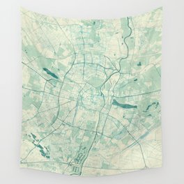 Poznan Map Blue Vintage Wall Tapestry