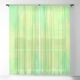 Bright lime and lemon triangles in the intersection and overlay. Sheer Curtain